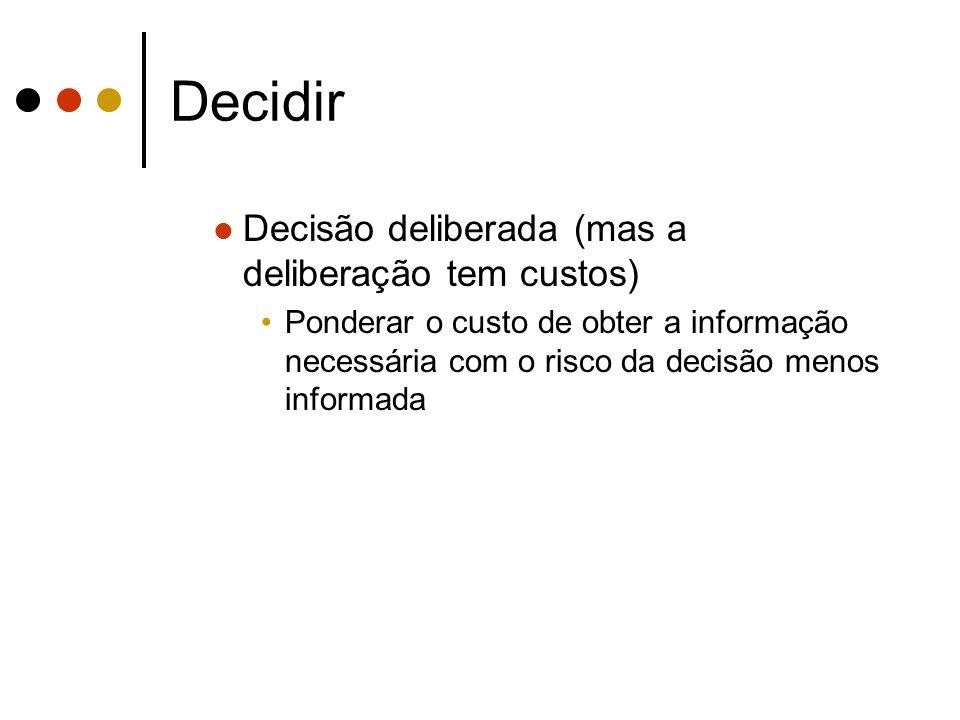 Decidir Decisão deliberada (mas a deliberação tem custos)