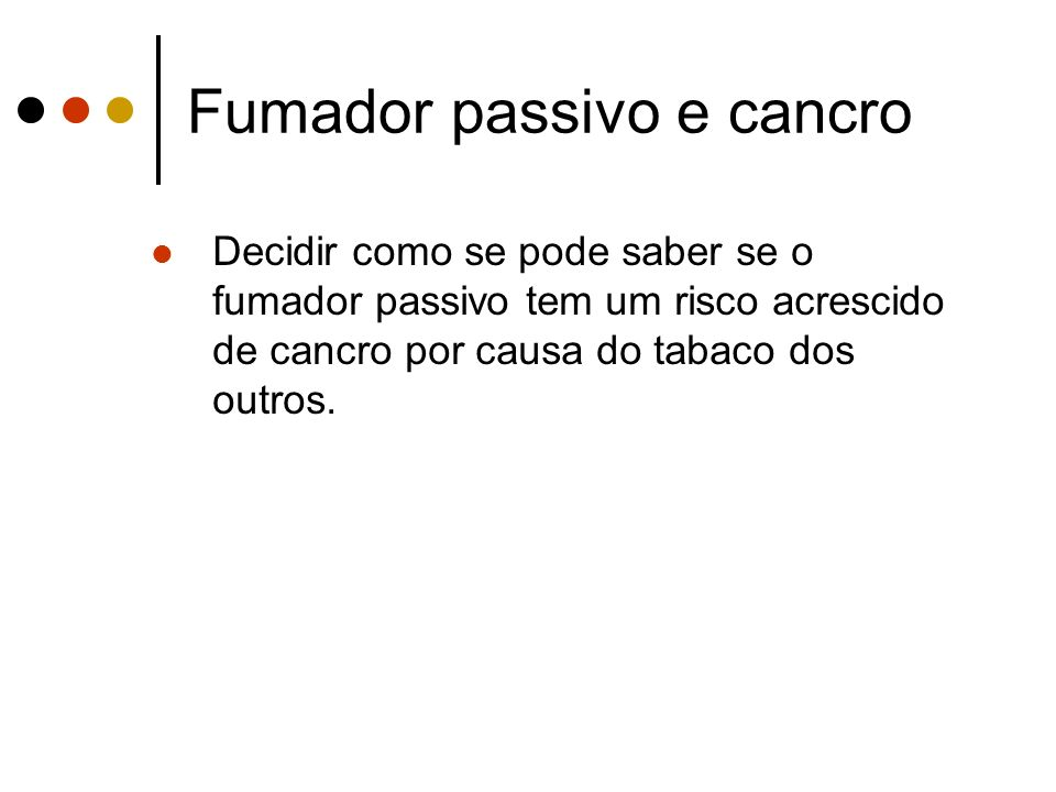 Fumador passivo e cancro