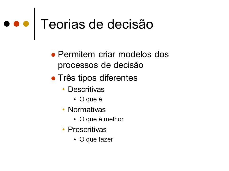 Teorias de decisão Permitem criar modelos dos processos de decisão