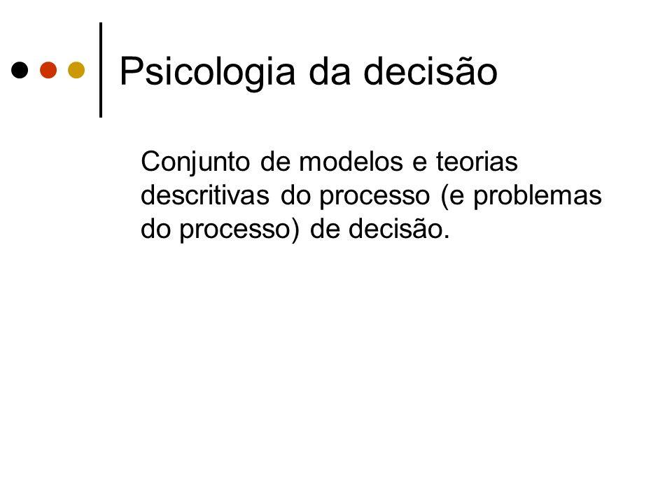 Psicologia da decisão Conjunto de modelos e teorias descritivas do processo (e problemas do processo) de decisão.