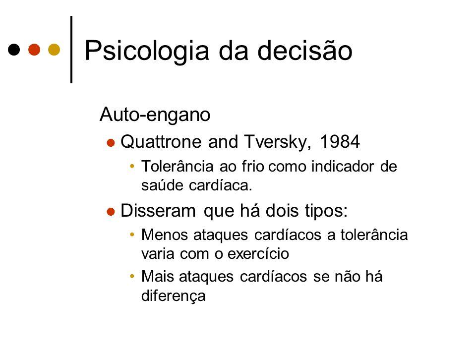 Psicologia da decisão Auto-engano Quattrone and Tversky, 1984