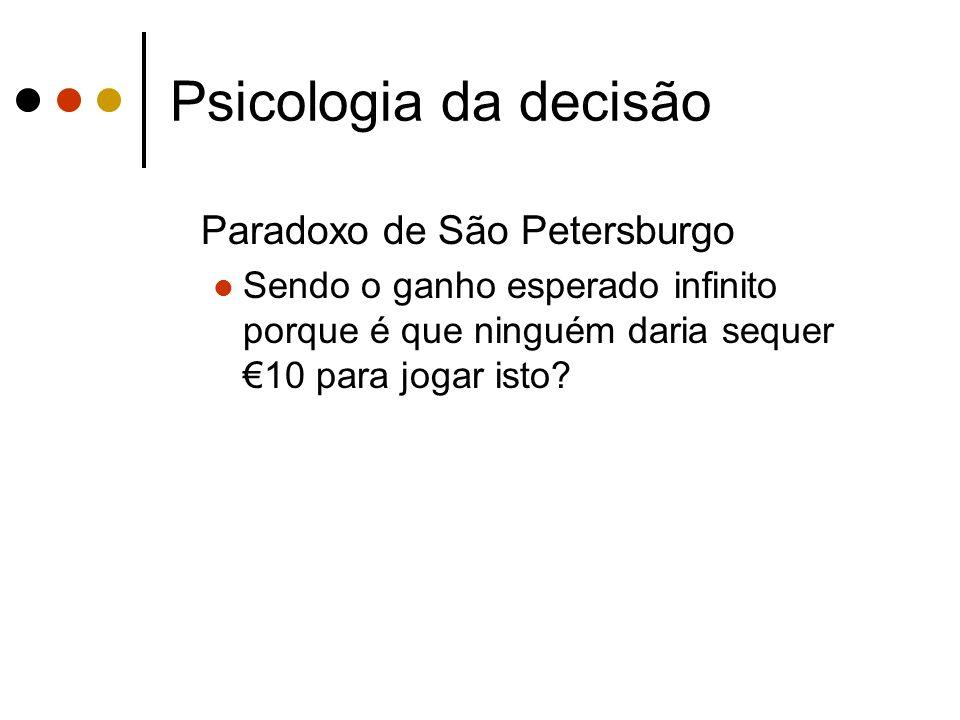 Psicologia da decisão Paradoxo de São Petersburgo