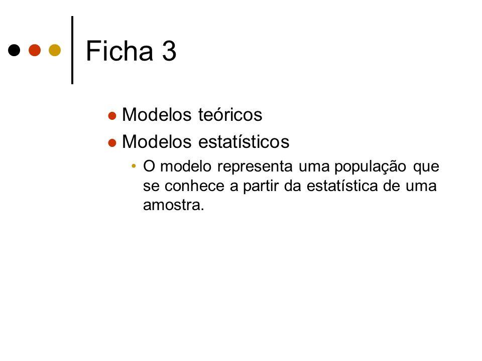 Ficha 3 Modelos teóricos Modelos estatísticos
