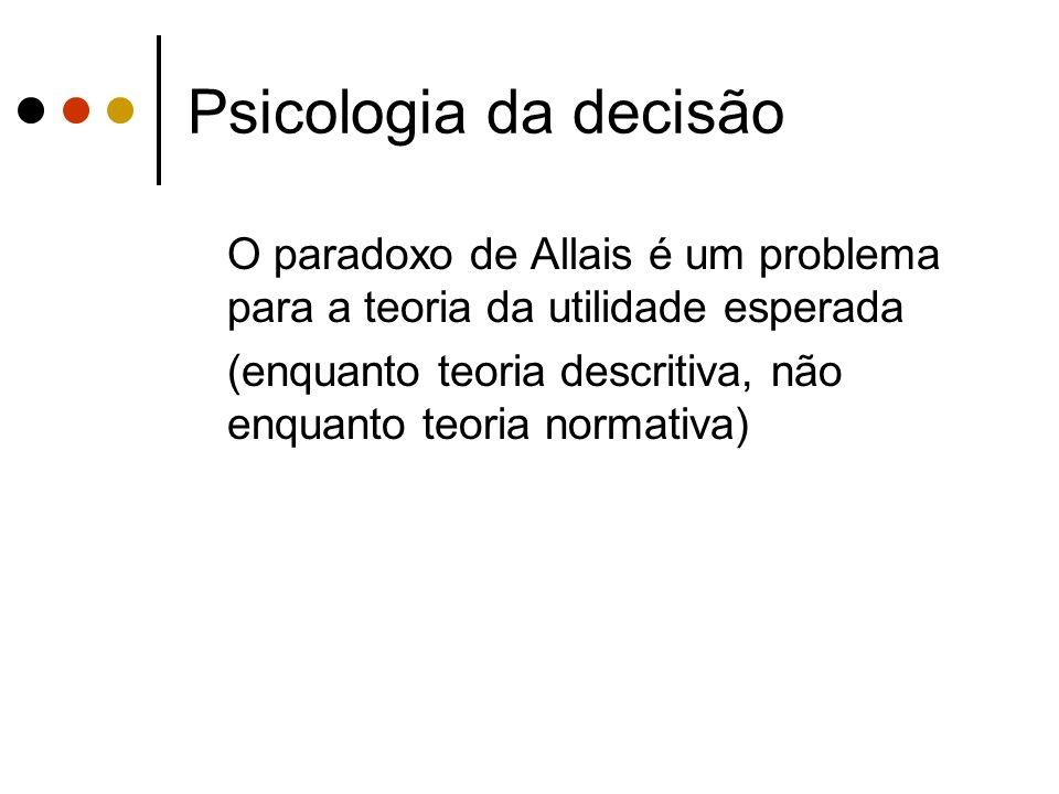Psicologia da decisão O paradoxo de Allais é um problema para a teoria da utilidade esperada.