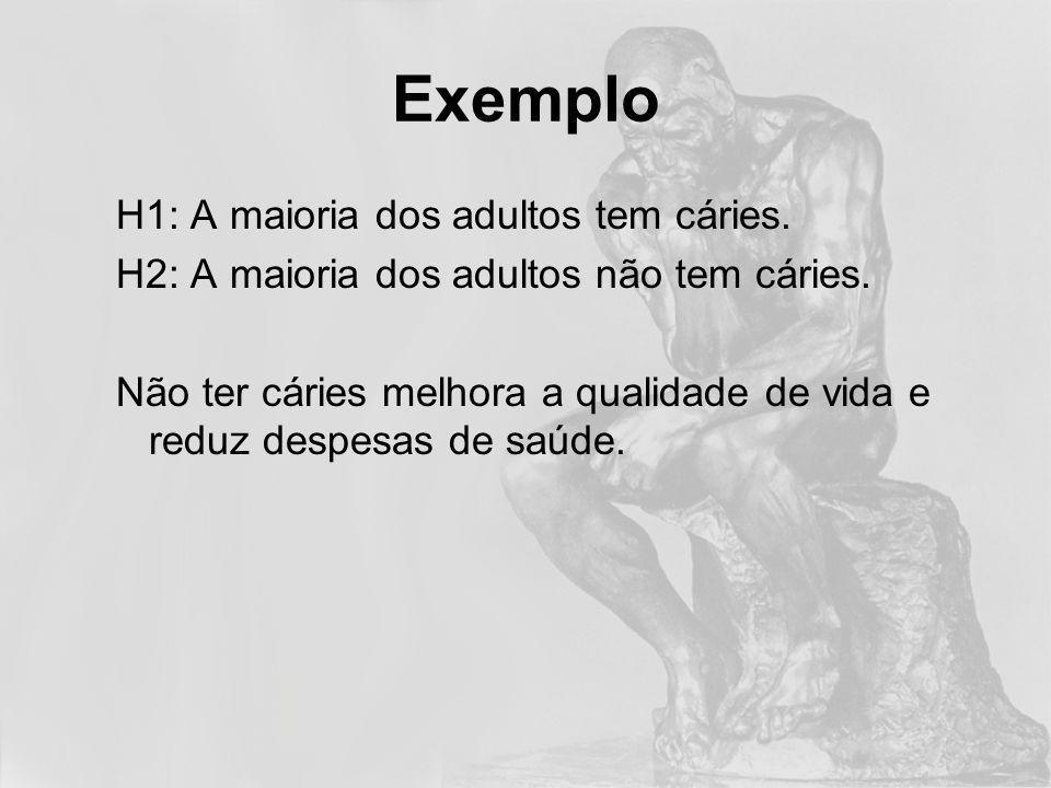 Exemplo H1: A maioria dos adultos tem cáries.