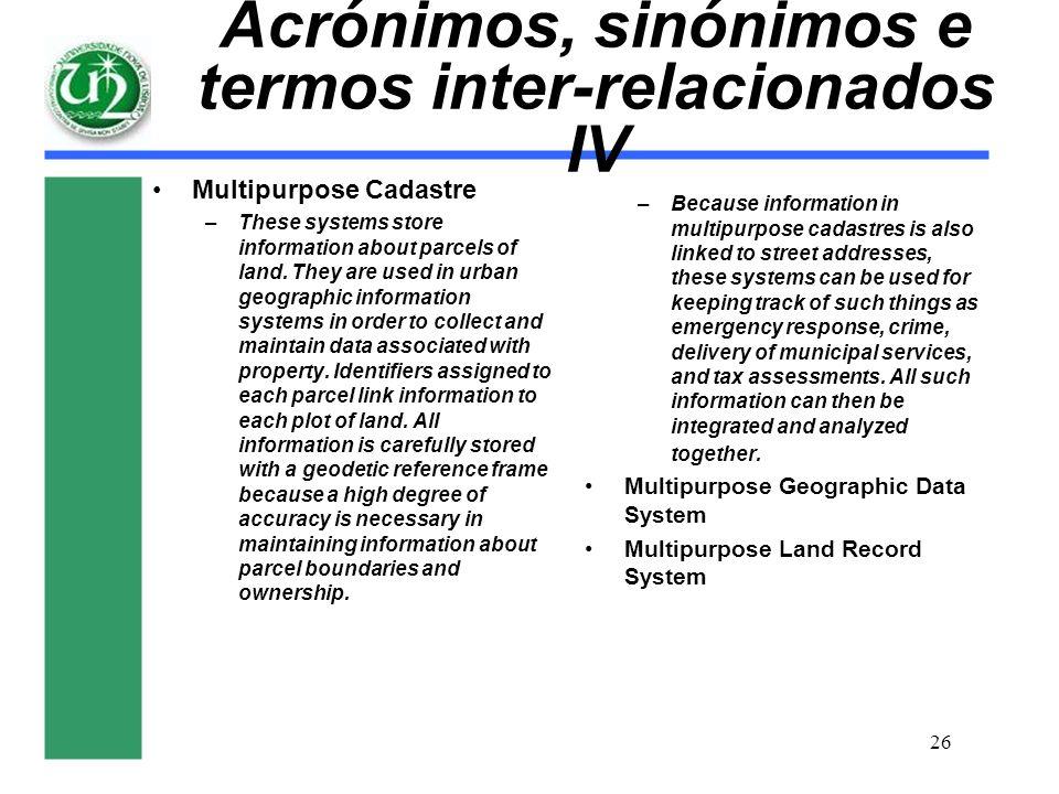 Acrónimos, sinónimos e termos inter-relacionados IV