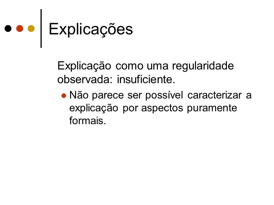 Explicações Explicação como uma regularidade observada: insuficiente.