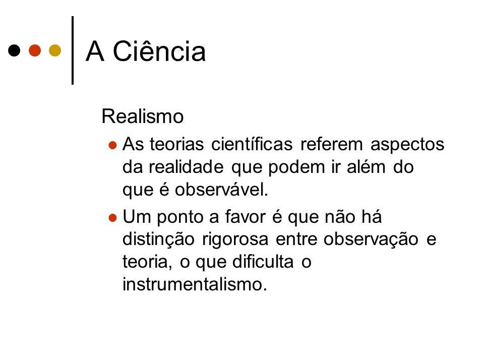 A Ciência Realismo. As teorias científicas referem aspectos da realidade que podem ir além do que é observável.
