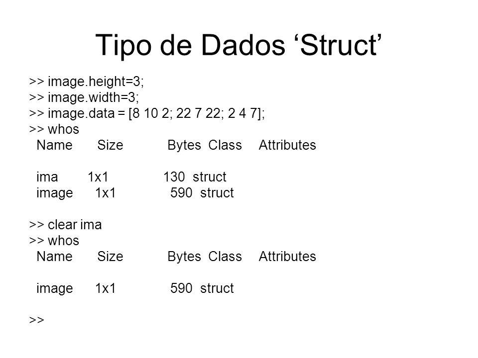 Tipo de Dados 'Struct' >> image.height=3;