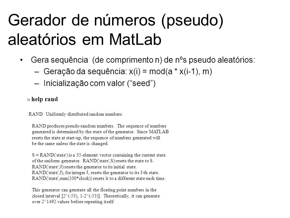 Gerador de números (pseudo) aleatórios em MatLab