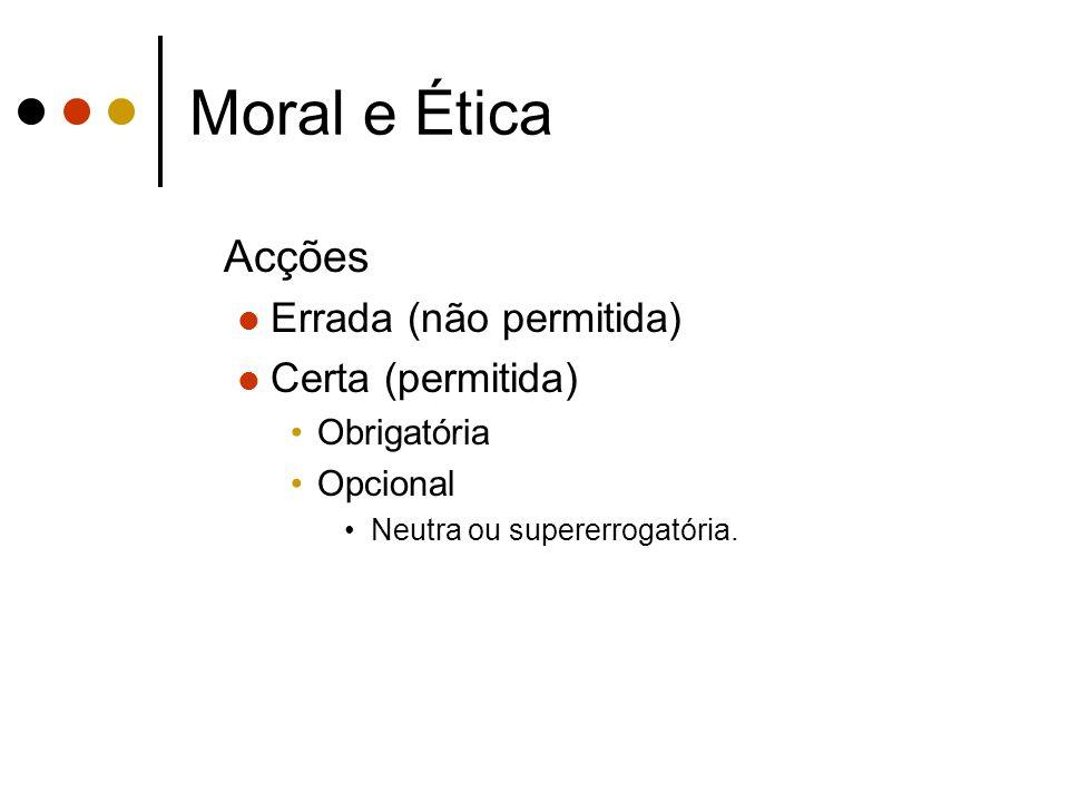 Moral e Ética Acções Errada (não permitida) Certa (permitida)
