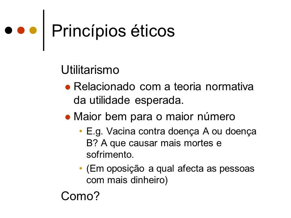 Princípios éticos Utilitarismo Como