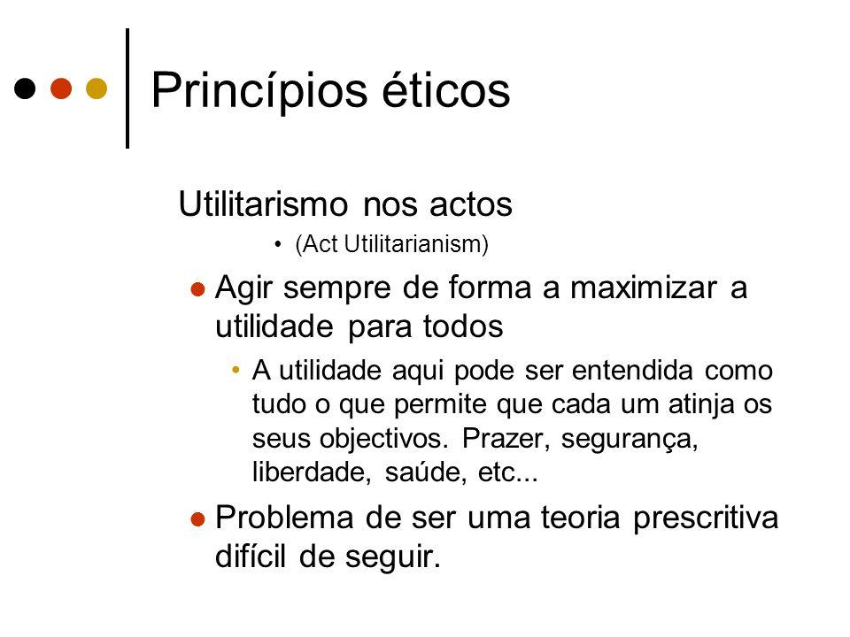 Princípios éticos Utilitarismo nos actos