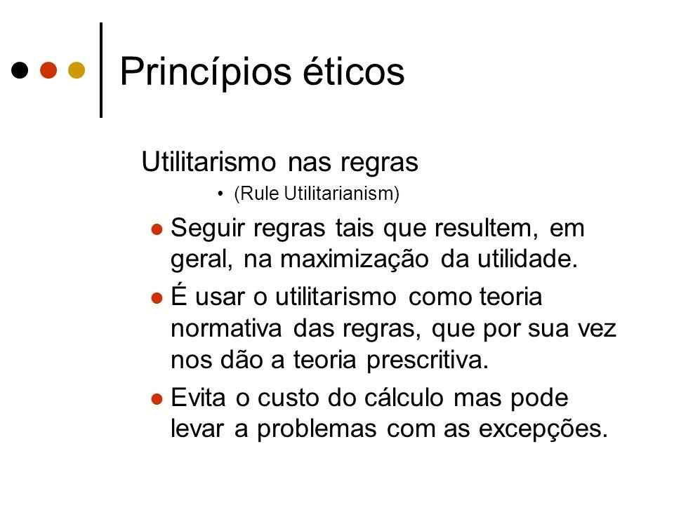 Princípios éticos Utilitarismo nas regras