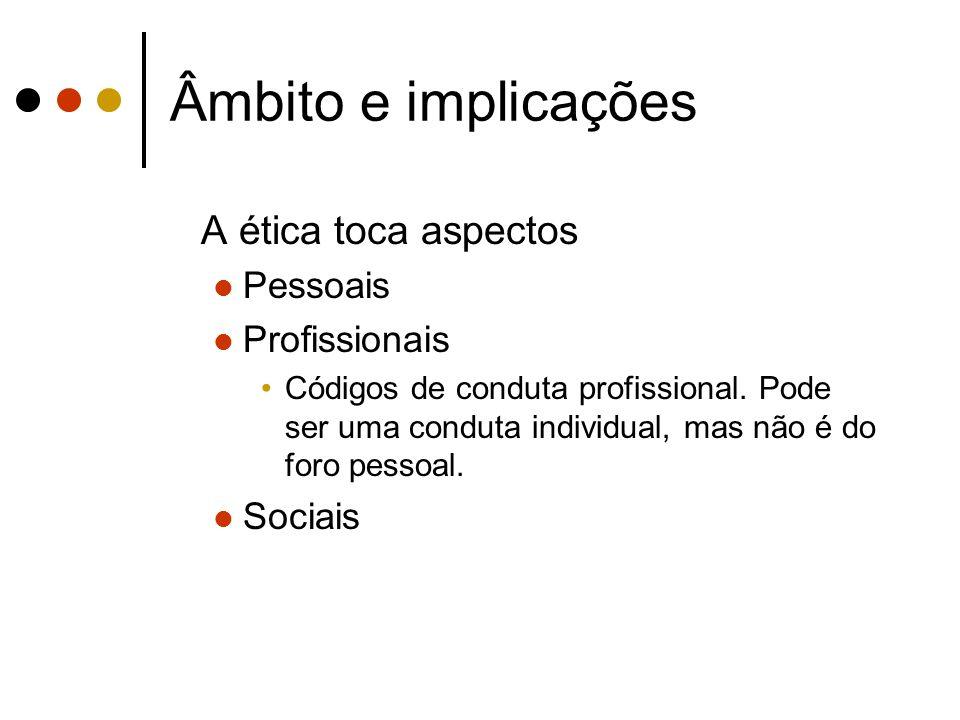 Âmbito e implicações A ética toca aspectos Pessoais Profissionais