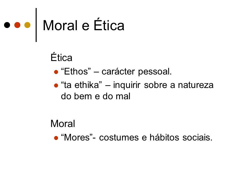 Moral e Ética Ética Moral Ethos – carácter pessoal.