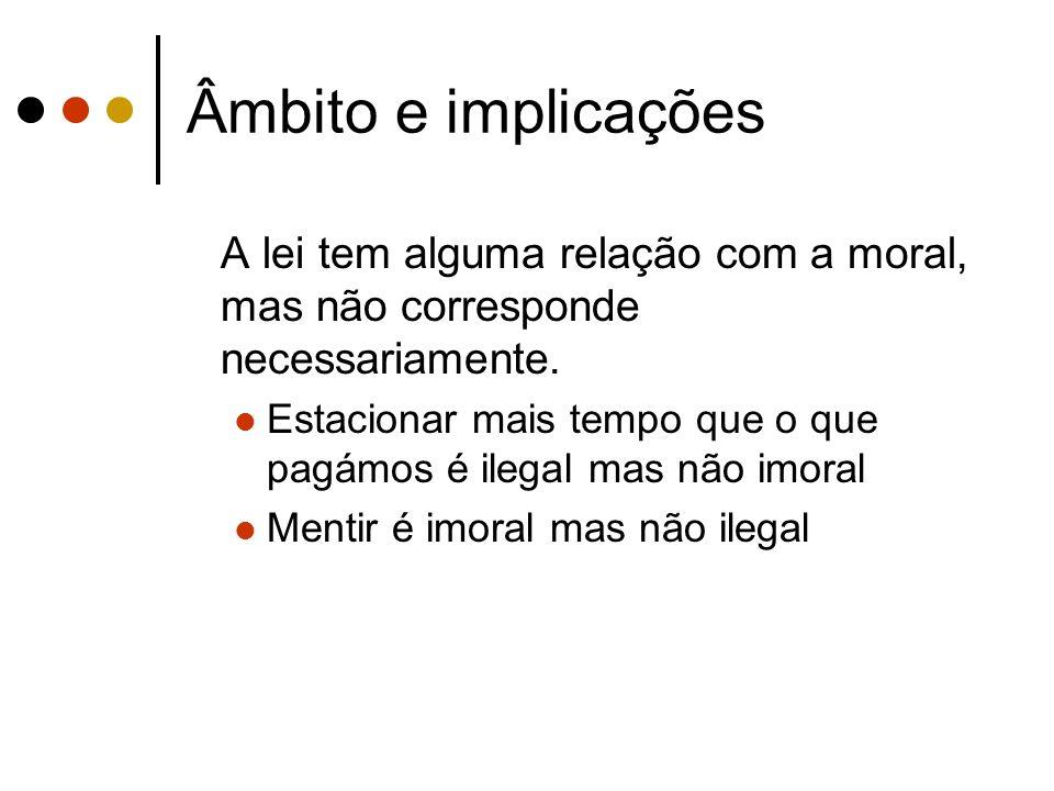 Âmbito e implicações A lei tem alguma relação com a moral, mas não corresponde necessariamente.