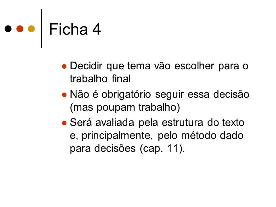 Ficha 4 Decidir que tema vão escolher para o trabalho final
