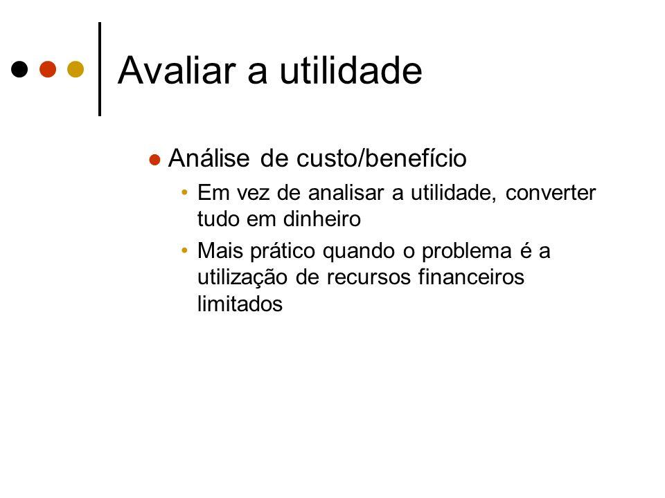 Avaliar a utilidade Análise de custo/benefício
