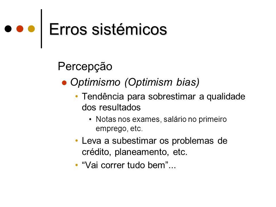 Erros sistémicos Percepção Optimismo (Optimism bias)