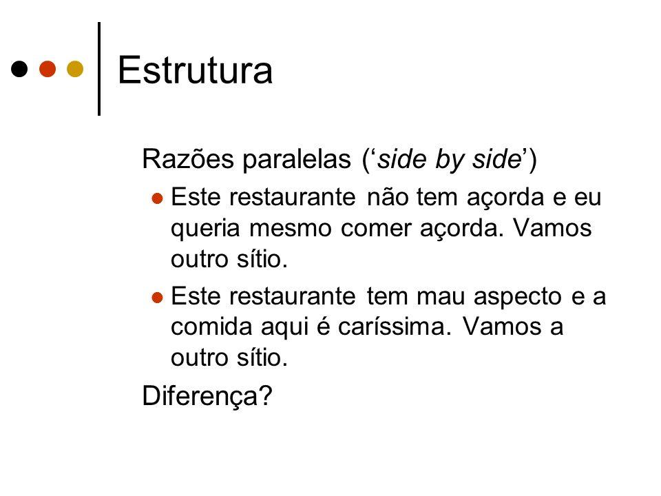 Estrutura Razões paralelas ('side by side') Diferença