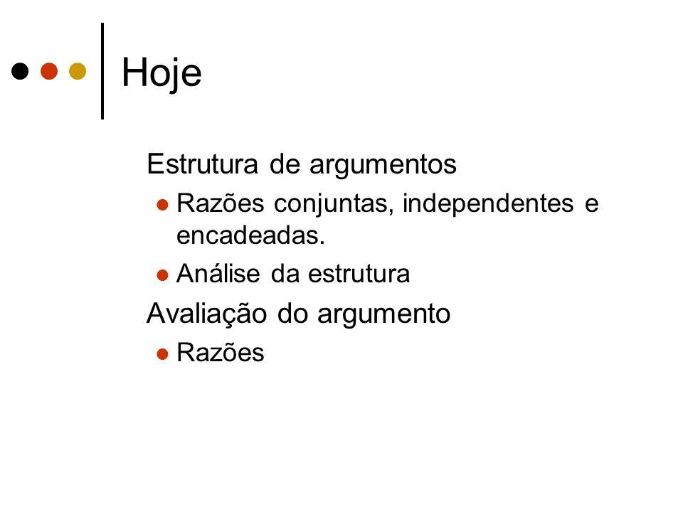 Hoje Estrutura de argumentos Avaliação do argumento