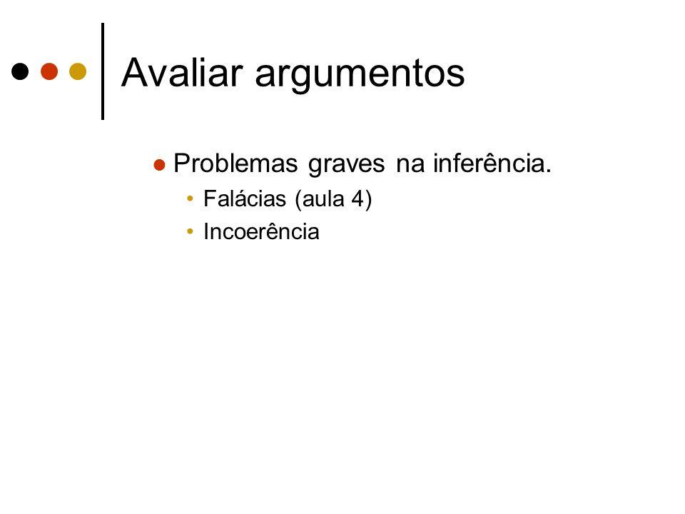 Avaliar argumentos Problemas graves na inferência. Falácias (aula 4)