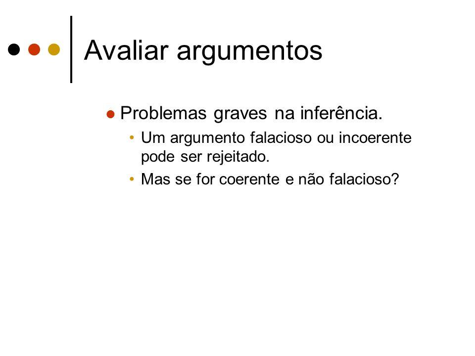 Avaliar argumentos Problemas graves na inferência.
