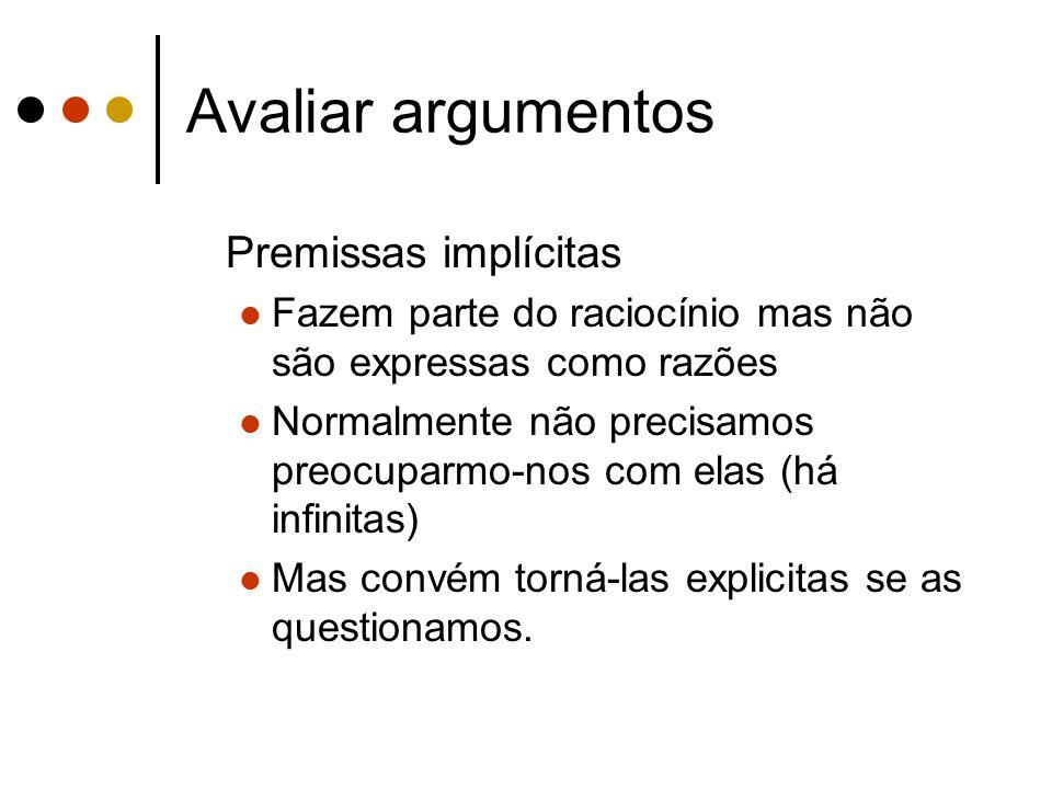 Avaliar argumentos Premissas implícitas