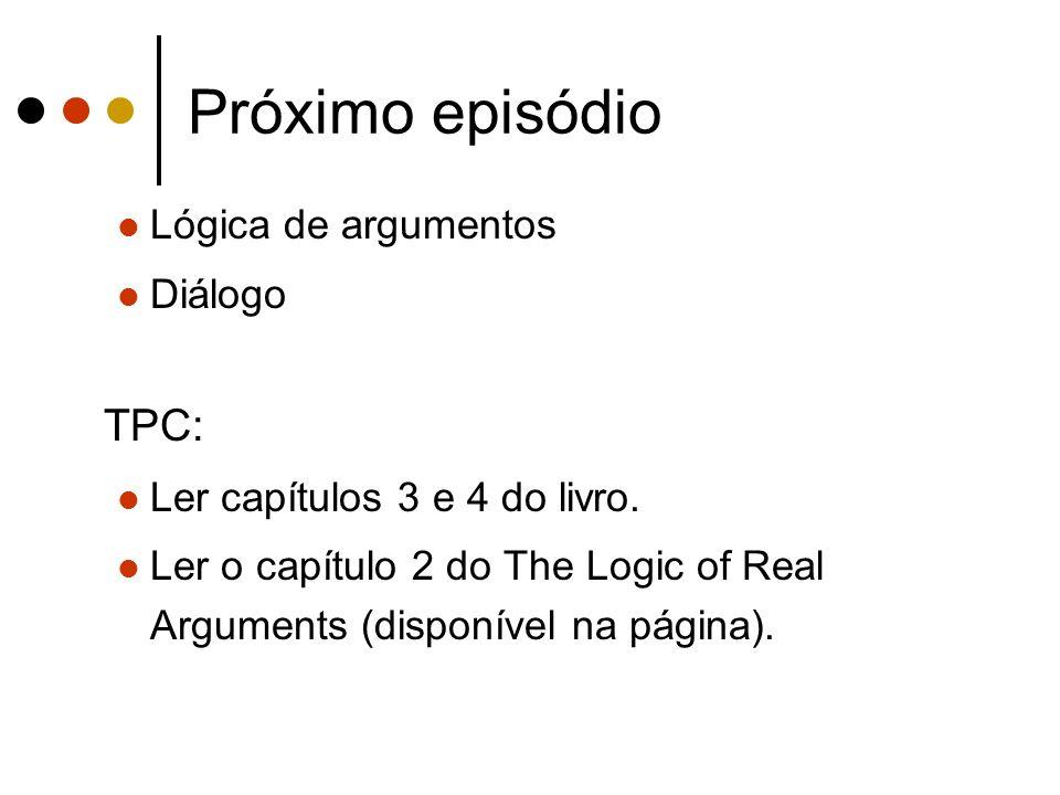 Próximo episódio TPC: Lógica de argumentos Diálogo
