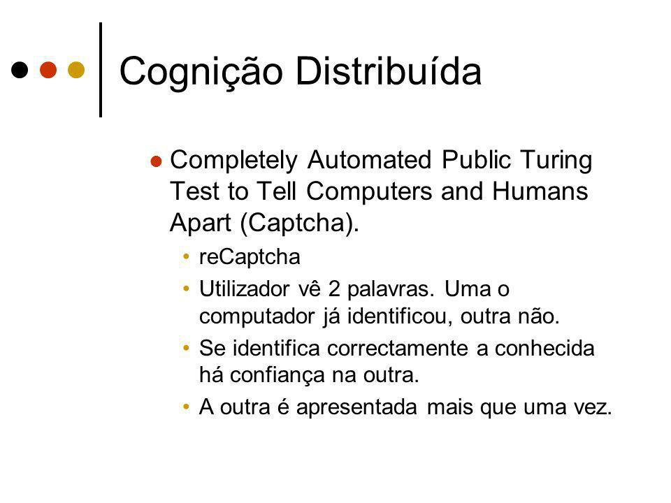 Cognição Distribuída Completely Automated Public Turing Test to Tell Computers and Humans Apart (Captcha).