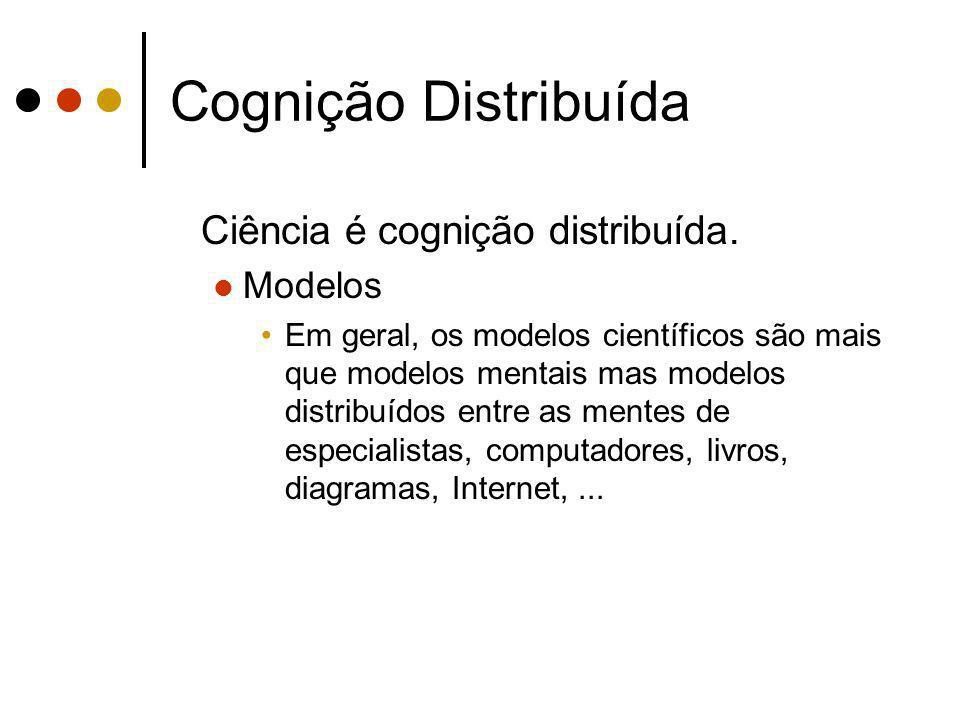 Cognição Distribuída Ciência é cognição distribuída. Modelos