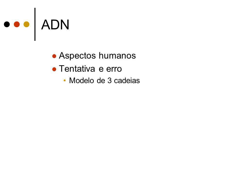 ADN Aspectos humanos Tentativa e erro Modelo de 3 cadeias