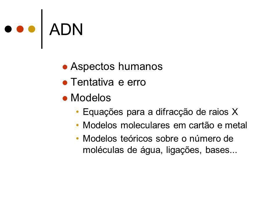 ADN Aspectos humanos Tentativa e erro Modelos