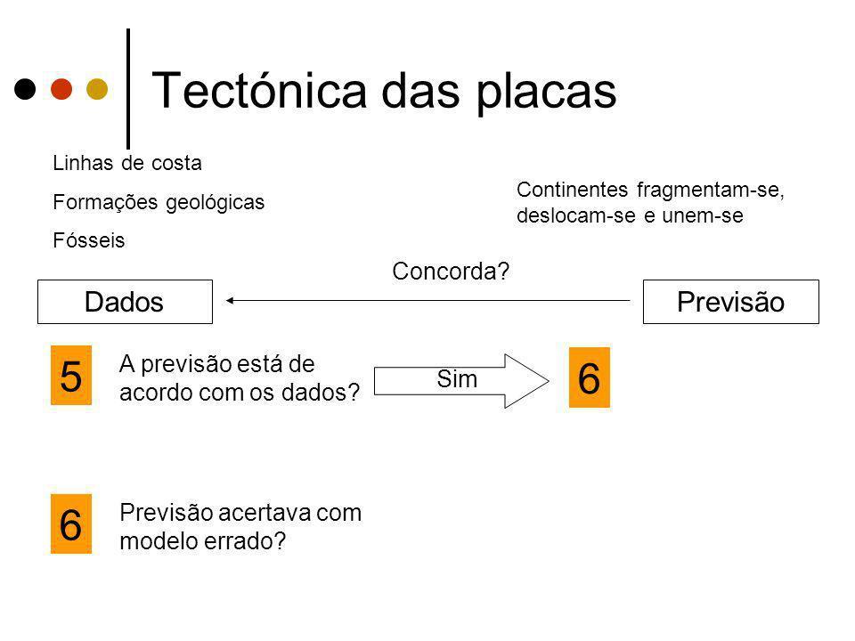 Tectónica das placas 5 6 6 Dados Previsão Concorda