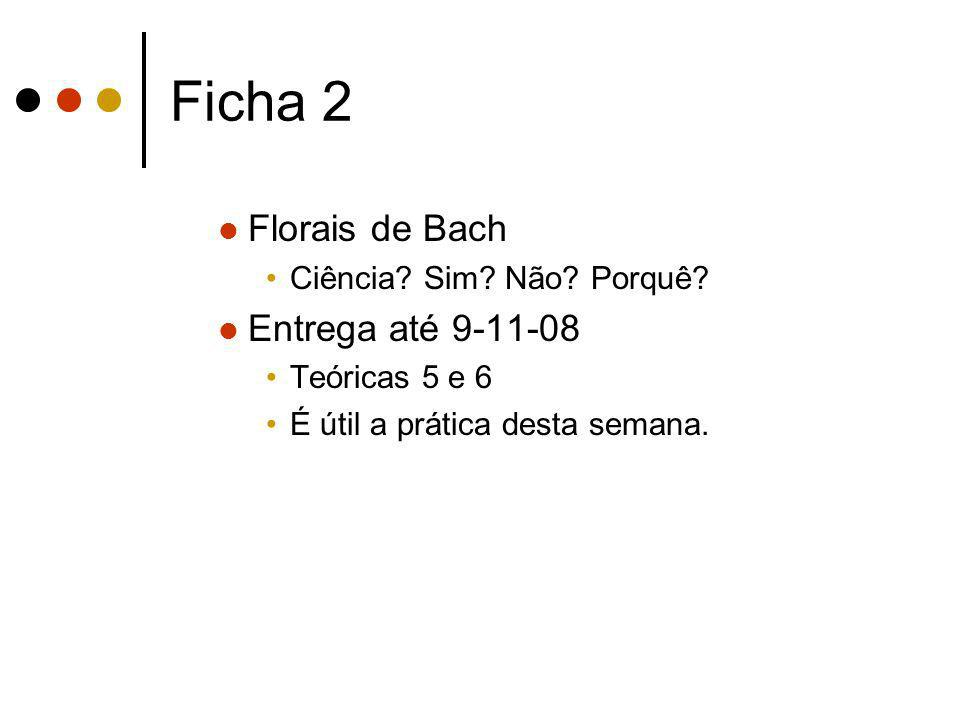 Ficha 2 Florais de Bach Entrega até 9-11-08 Ciência Sim Não Porquê