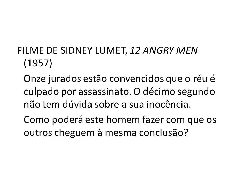 FILME DE SIDNEY LUMET, 12 ANGRY MEN (1957) Onze jurados estão convencidos que o réu é culpado por assassinato.
