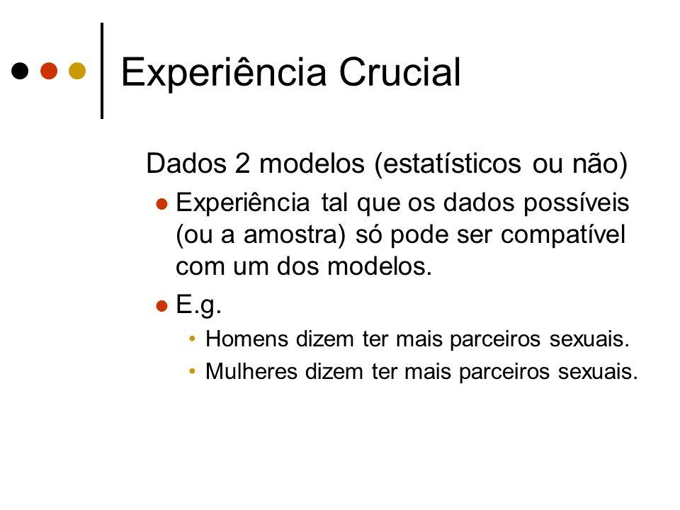 Experiência Crucial Dados 2 modelos (estatísticos ou não)