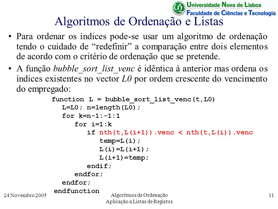 Algoritmos de Ordenação e Listas