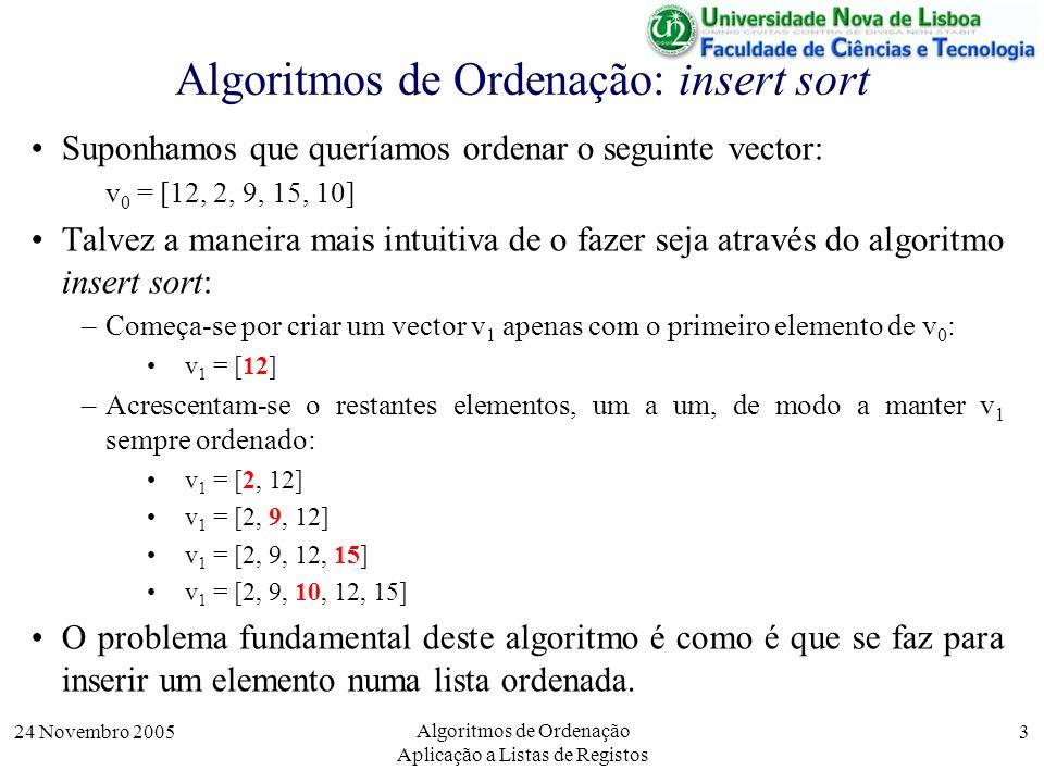 Algoritmos de Ordenação: insert sort