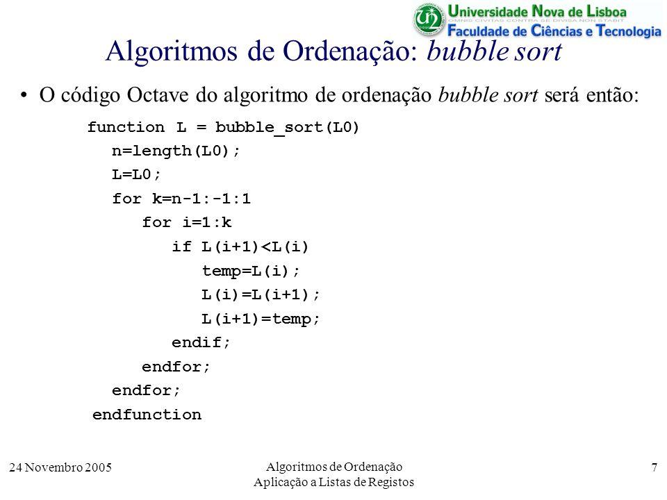 Algoritmos de Ordenação: bubble sort