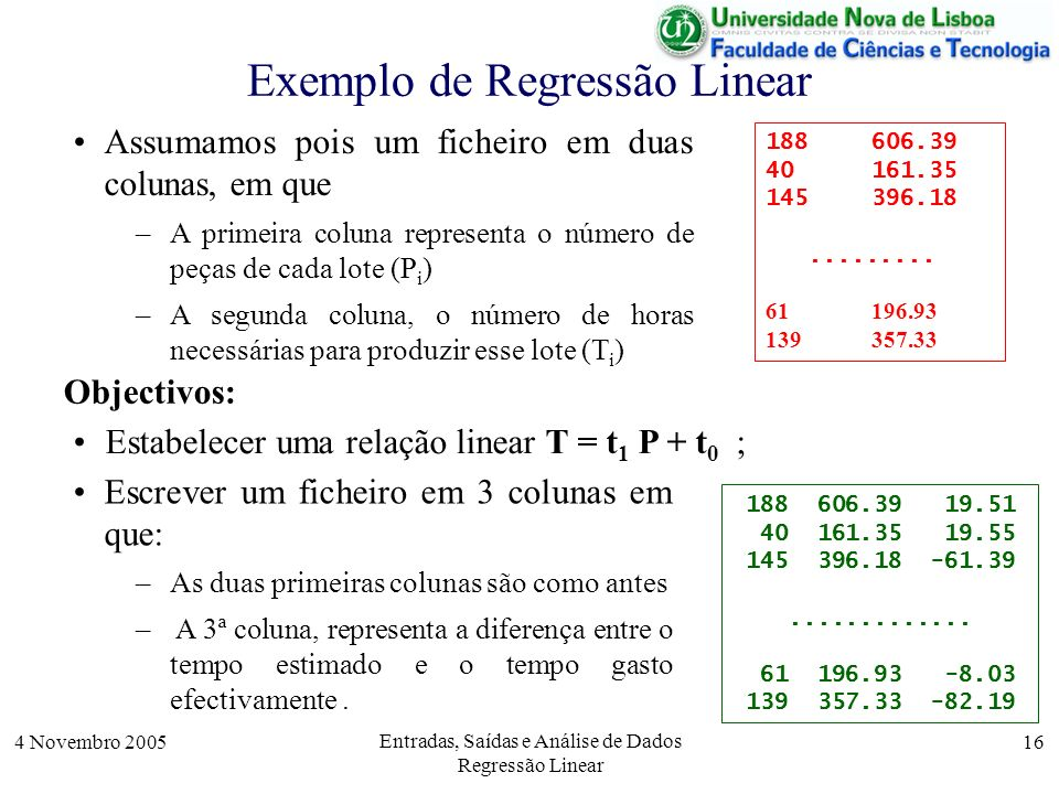 Exemplo de Regressão Linear
