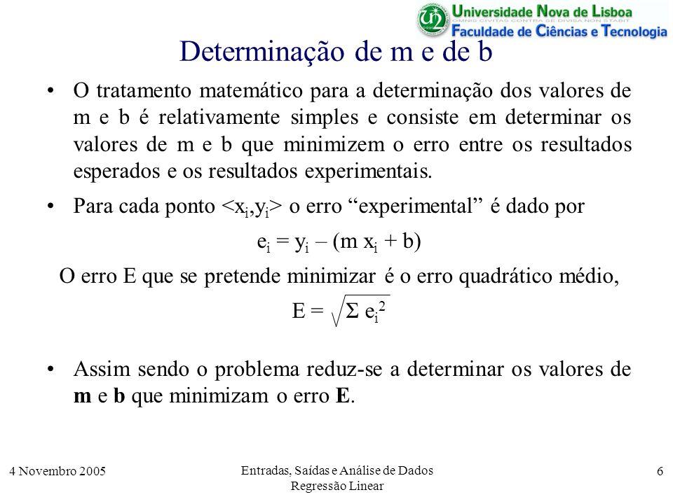 Determinação de m e de b