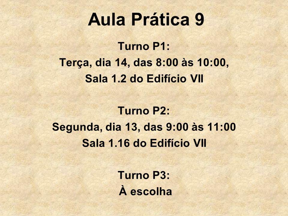 Aula Prática 9 Turno P1: Terça, dia 14, das 8:00 às 10:00,