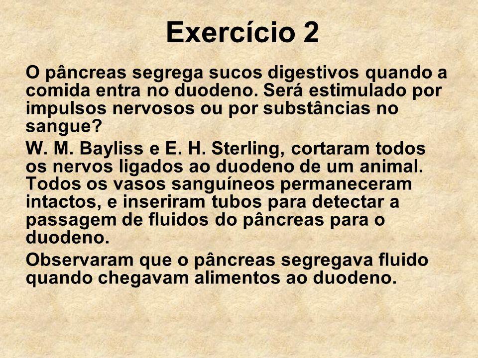 Exercício 2 O pâncreas segrega sucos digestivos quando a comida entra no duodeno. Será estimulado por impulsos nervosos ou por substâncias no sangue