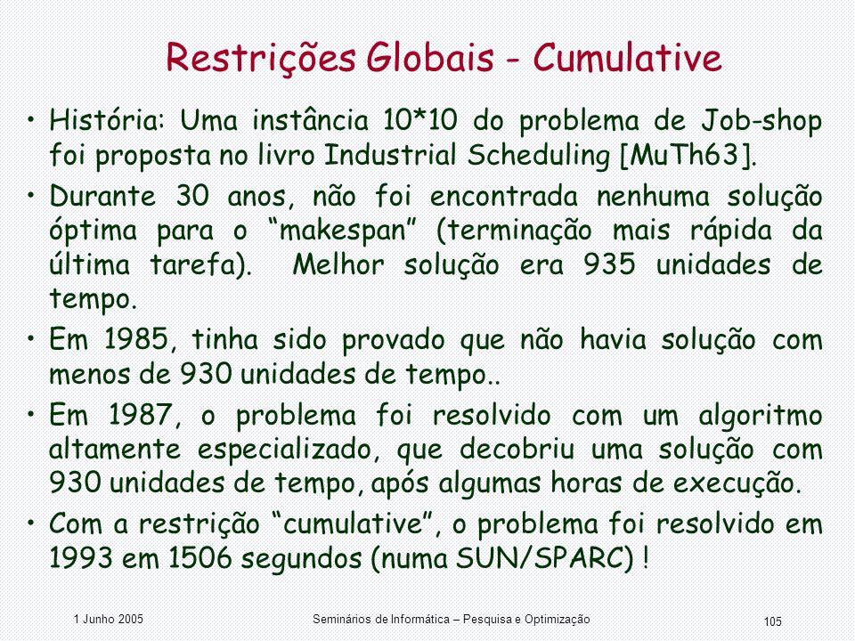 Restrições Globais - Cumulative