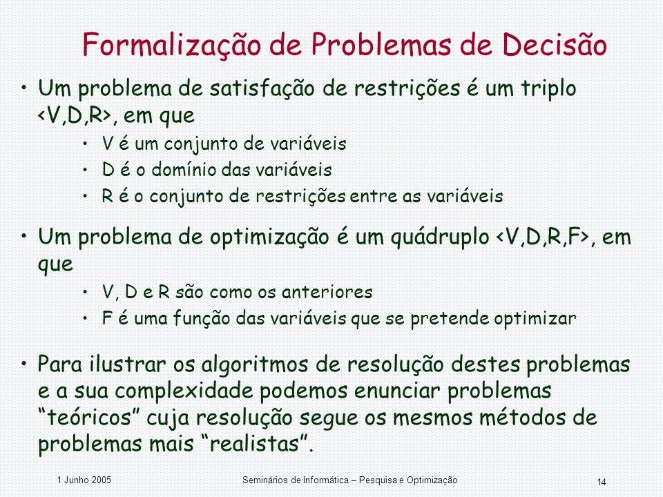 Formalização de Problemas de Decisão