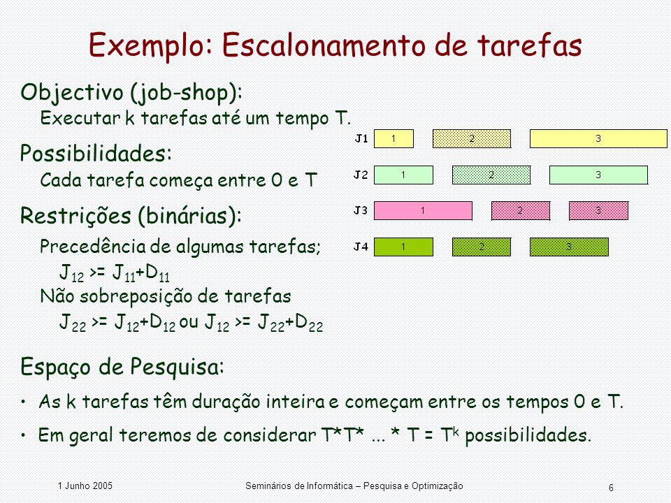 Exemplo: Escalonamento de tarefas