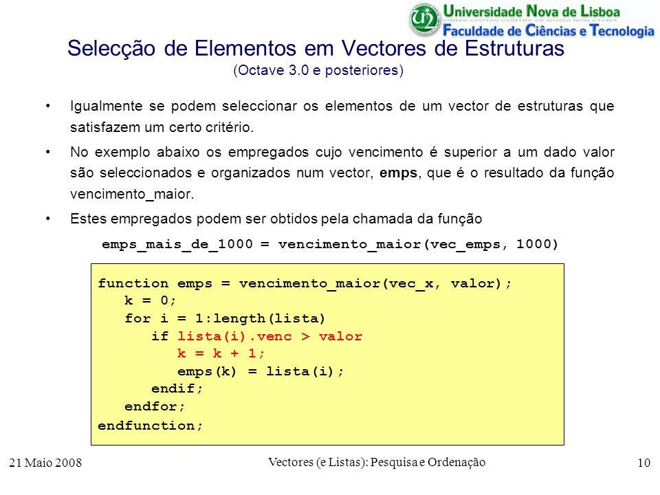 Selecção de Elementos em Vectores de Estruturas (Octave 3