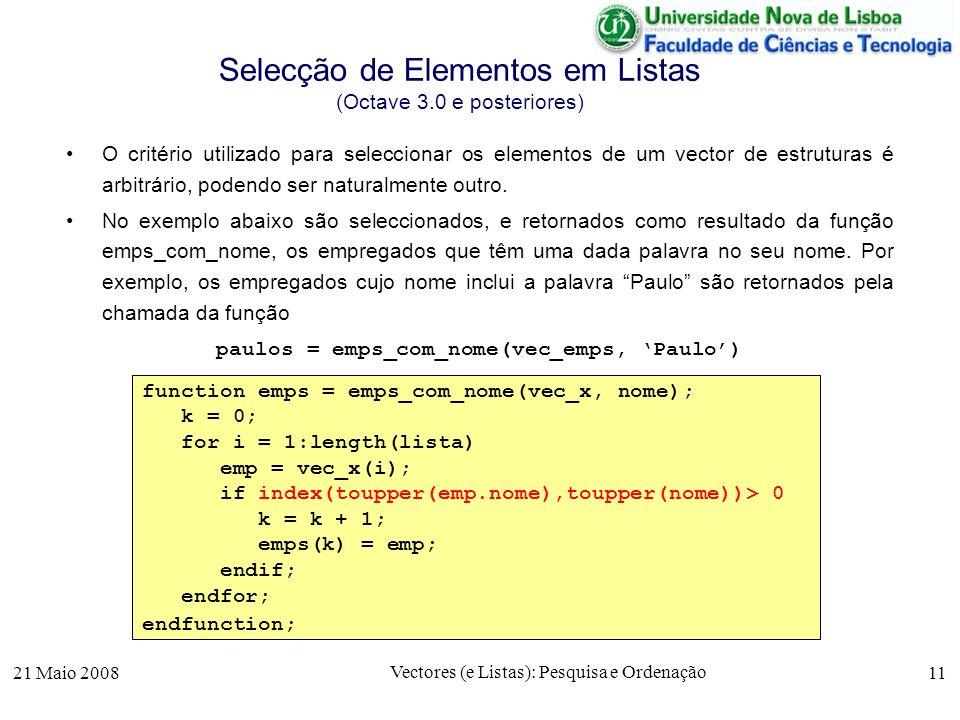 Selecção de Elementos em Listas (Octave 3.0 e posteriores)